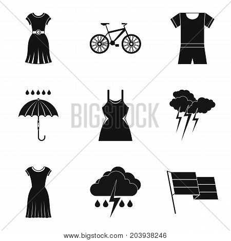 Rain clothes icon set. Simple set of 9 rain clothes vector icons for web design isolated on white background