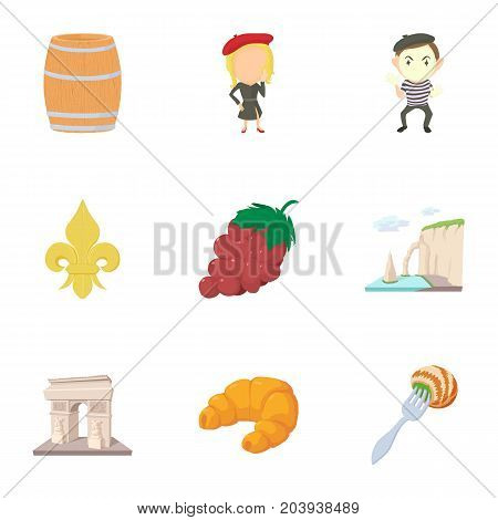 French things icons set. Cartoon set of 9 french things vector icons for web isolated on white background