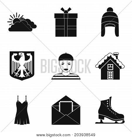 Winter clothes icon set. Simple set of 9 winter clothes vector icons for web design isolated on white background