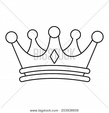Regal crown icon. Outline illustration of regal crown vector icon for web design isolated on white background