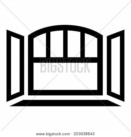 Open semicircular window frame icon. Simple illustration of open semicircular window frame vector icon for web