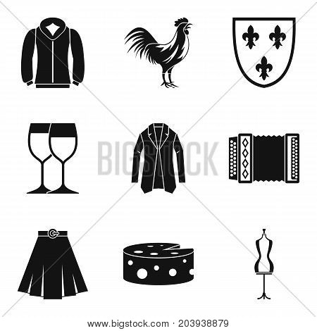 European clothes icon set. Simple set of 9 european clothes vector icons for web design isolated on white background