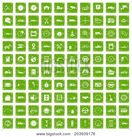 100 garage icons set in grunge style green color isolated on white background vector illustration