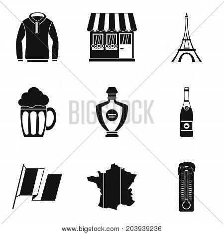 French clothes icon set. Simple set of 9 french clothes vector icons for web design isolated on white background