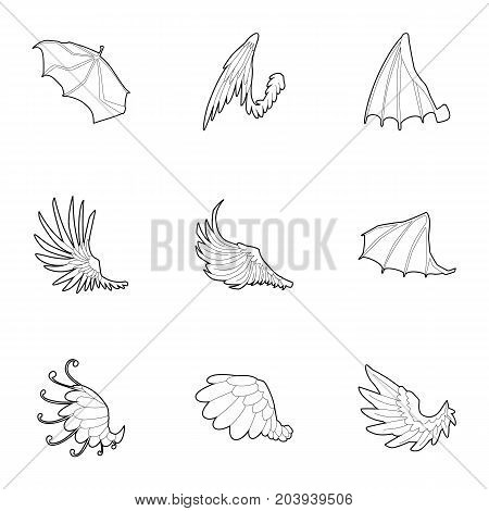 Wings with feathers icons set. Outline set of 9 wings with feathers vector icons for web isolated on white background