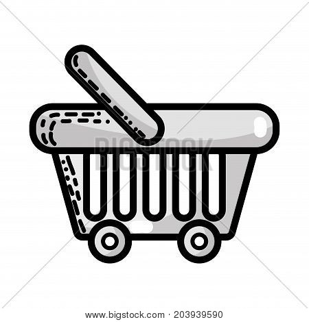grayscale supermarket basket element to buy products vector illustration