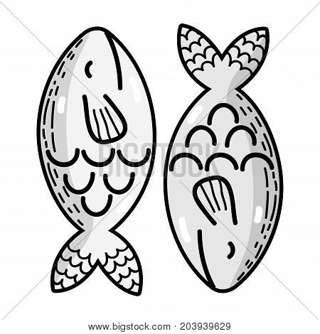 grayscale delicious and fresh fish food with nutrition vector illustration
