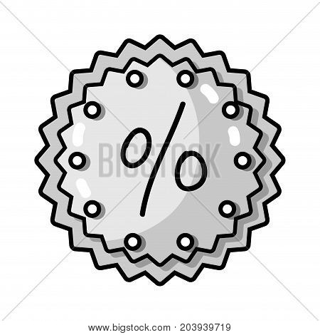 grayscale metal emblem percent sign design vector illustration