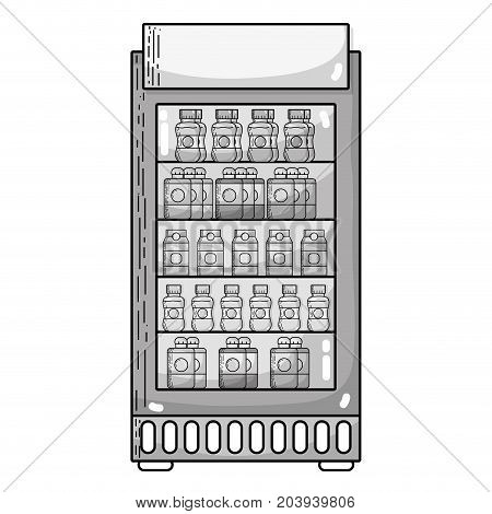 grayscale supermarket fridge with fresh drinks beverage vector illustration