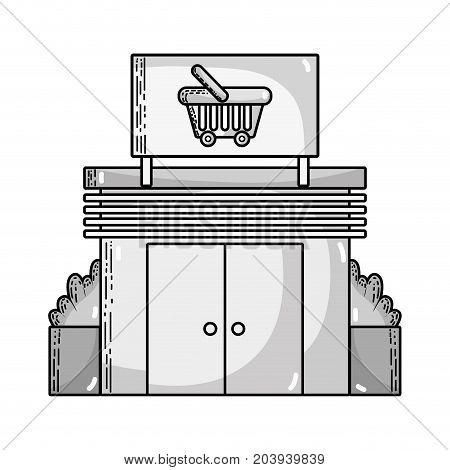 grayscale supermarket store to shopping fresh products vector illustration
