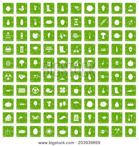 100 garden icons set in grunge style green color isolated on white background vector illustration