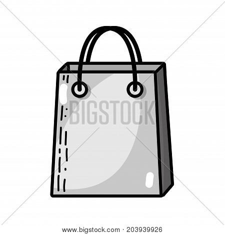 grayscale shopping bag market accessory icon vector illustration