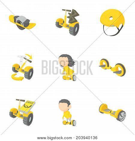 Segway, monowheel, hoverboard icons set. Cartoon set of 9 segway, monowheel, hoverboard vector icons for web isolated on white background