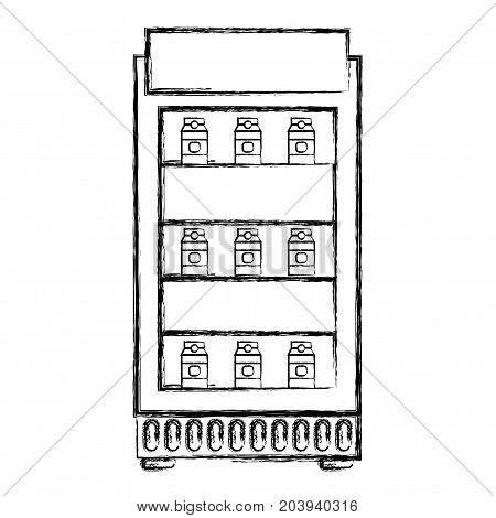 figure supermarket fridge with fresh drinks beverage vector illustration