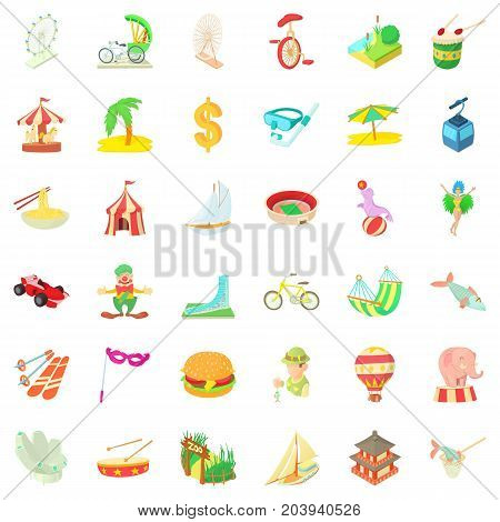 Country icons set. Cartoon style of 36 country vector icons for web isolated on white background