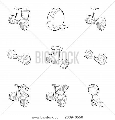 Segway, monowheel, hoverboard icons set. Outline set of 9 segway, monowheel, hoverboard vector icons for web isolated on white background