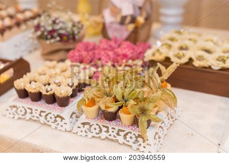 Horizontal picture of ornated table with bonbon with fruits and white chocolate for woman party