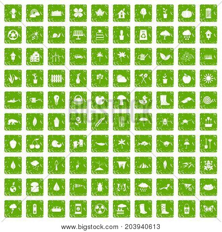 100 garden stuff icons set in grunge style green color isolated on white background vector illustration