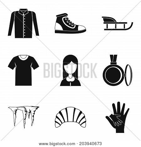 Casual clothing icon set. Simple set of 9 casual clothing vector icons for web design isolated on white background