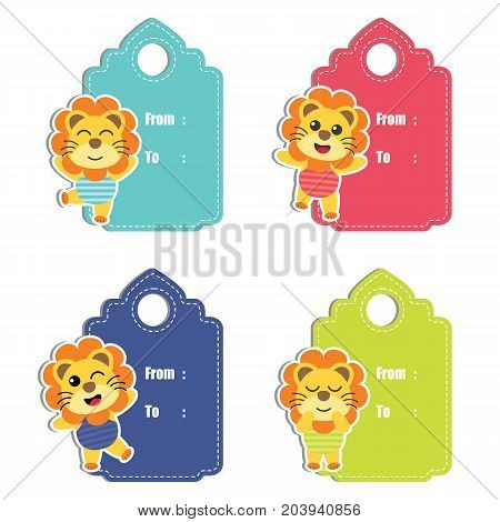 Cute lion boys on colorful background vector cartoon illustration for birthday gift tag design, label tag and sticker set design