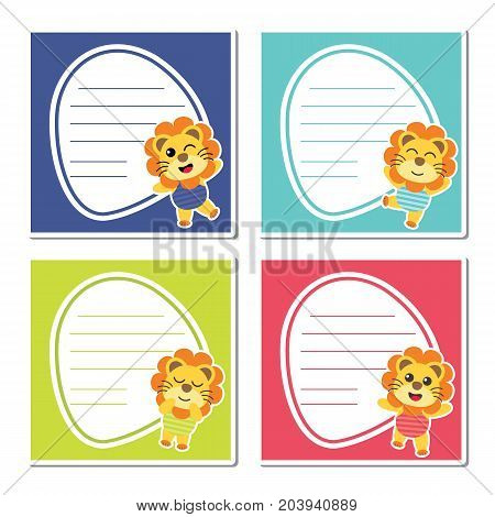 Cute lion boys on colorful frame vector cartoon illustration for kid memo paper design, planner paper and stationery paper