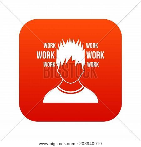 Man and work words icon digital red for any design isolated on white vector illustration