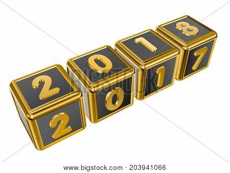 Figures 2017 and 2018 on gold cubes in 3D isolated on a white background