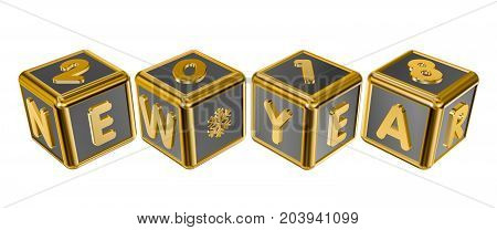 Figures 2018 and the inscription New Year on gold cubes in 3D isolated on a white background
