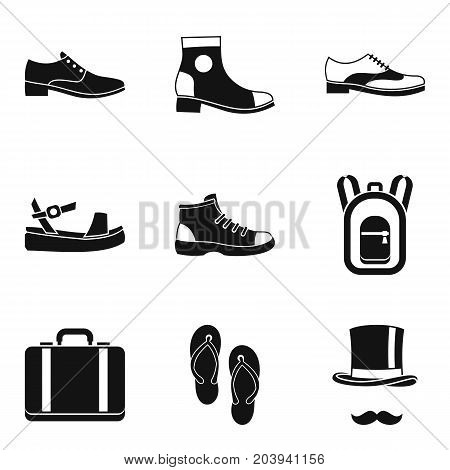 Type of shoes icon set. Simple set of 9 type of shoes vector icons for web design isolated on white background