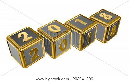 Figures 2018 on the golden cubes in 3D isolated on a white background