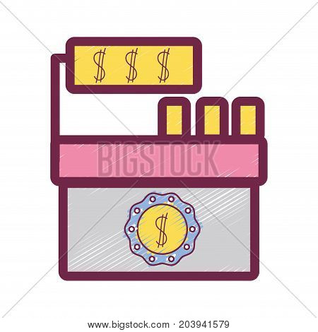 cash register technology to check products vector illustration