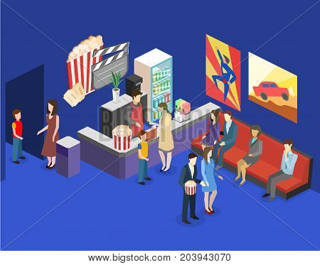 Isometric Flat 3D Interior Of Cinema Waiting Hall. Cinema Cafe