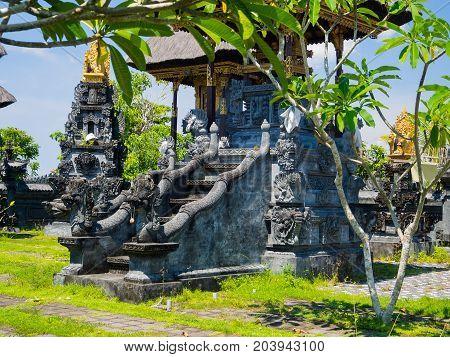BALI, INDONESIA - MARCH 11, 2017: Close up of a stoned structure in Uluwatu temple in Bali island, Indonesia.