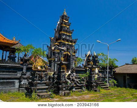BALI, INDONESIA - MARCH 11, 2017: Pura Ulun Danu Bratan in Bali island, Indonesia in a beautiful blue sky