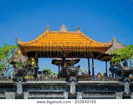 BALI, INDONESIA - MARCH 11, 2017: Stoned structure in Uluwatu temple in Bali island, Indonesia