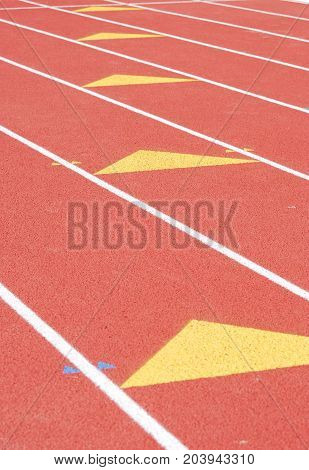 close up on running track in sport field
