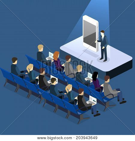 Presentation Of A New Phone Or Mobile Application. Flat 3D Illustration.