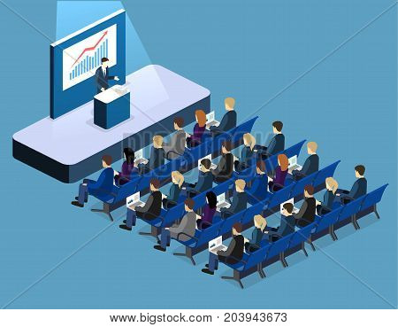 Business Meeting In Office Business Presentation Meeting In Conference Hall.