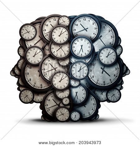 Thinking time meeting concept as a group of clock objects shaped as two human heads as a business punctuality and appointment cooperation metaphor or deadline pressure team and overtime collaboration icon as a 3D illustration.