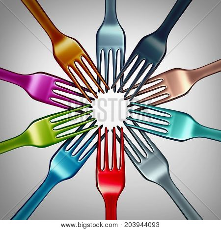 Diversity in food and diverse cuisine from around the world concept as different color kitchen fork objects as a gourmet or restaurant dining symbol for eating a variety of global diet as a 3D illustration.