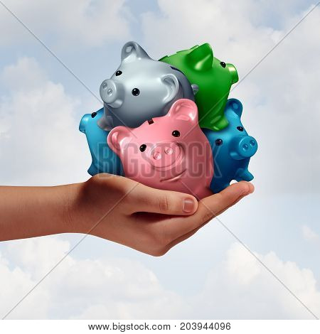 Debt consolidation as a hand holding a group of diverse piggy banks as an accounting financial concept to combine credit loans and savings for budgeting and managing finances with 3D illustration elements.
