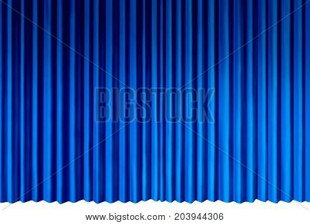 Blue Curtains object as indigo cool velvet drapes representing theatrical entertainment stage isolated on a white background as a 3D illustration.