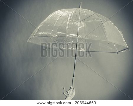 Rainy day autumnal accessories concept. Woman hand holding transparent open umbrella. Studio shot on dark background.