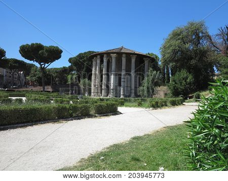 19.06.2017 Roma Italy: Circular temple of Hercules Victor formerly Temple of Vesta. Built in 120 BC. Piazza Bocca della Verita area of Forum Boarium.