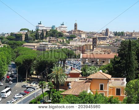19.06.2017 Rome Italy Europe: Great historic sityscape seen from Aventine hill