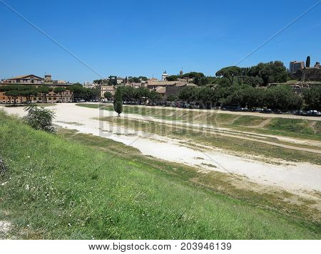 19.06.2017 Rome Italy Europe: View of Circus Maximus and Palatine Hill .