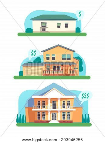 Concept of small, medium and large house for sale, rent. Selling homes. Vector cartoon illustration for web design, posters, user interface.
