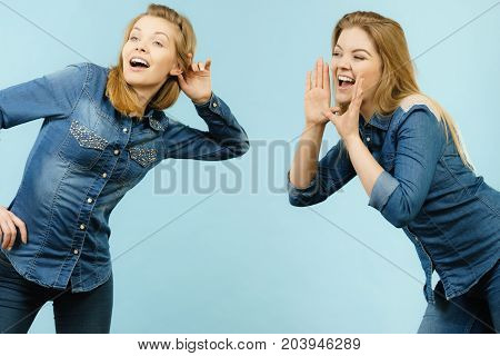 Two Women Telling Tales, Rumors Gossip