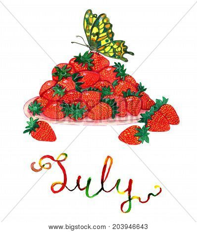 July month. Ripe strawberry and beautiful butterfly on top. Watercolor isolated illustration for calendar design page. Concept of twelve months symbols and hand writing lettering