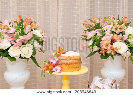 Front picture of delicious cake made with milk candy for woman party